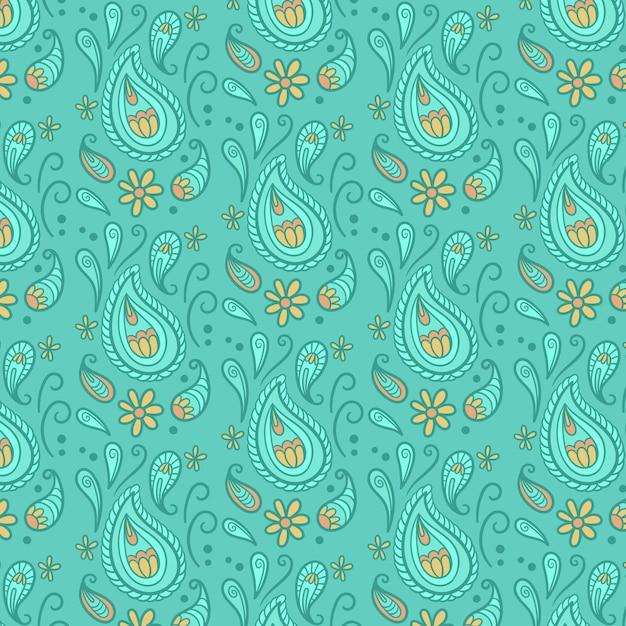 Het abstracte bandanapatroon van dalingen blauw paisley Premium Vector