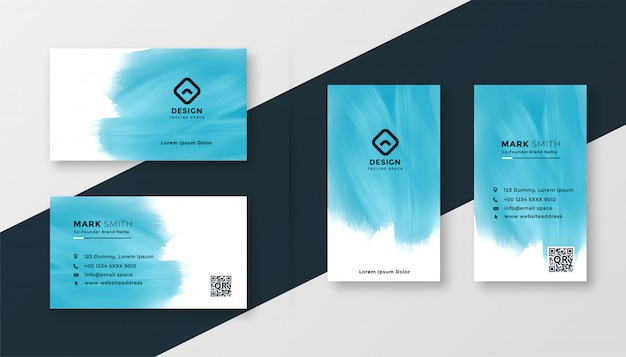 Het abstracte blauwe ontwerp van het waterverf creatieve adreskaartje Gratis Vector