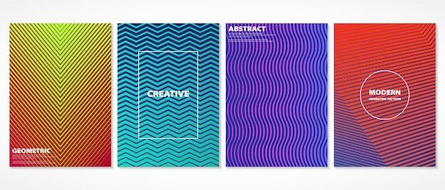 Het abstracte kleurrijke minimale geometrische ontwerp van het dekkingspatroon. Premium Vector