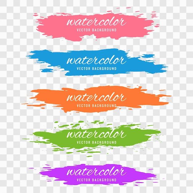 Het abstracte kleurrijke vastgestelde ontwerp van de waterverfslag Gratis Vector