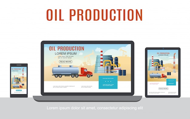 Het adaptieve ontwerpconcept van de platte olie-industrie met petrochemische fabrieksvaten van de tankwagen op geïsoleerde laptoptelefoon en tabletschermen Gratis Vector