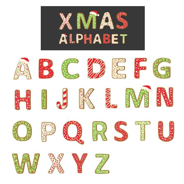 Het alfabet van het kerstmiskoekje op wit wordt geïsoleerd dat Premium Vector