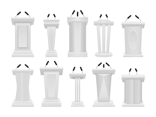 Het artistieke ontwerp van de tribune staat. bedrijfspresentatie of conferentietoespraak Premium Vector
