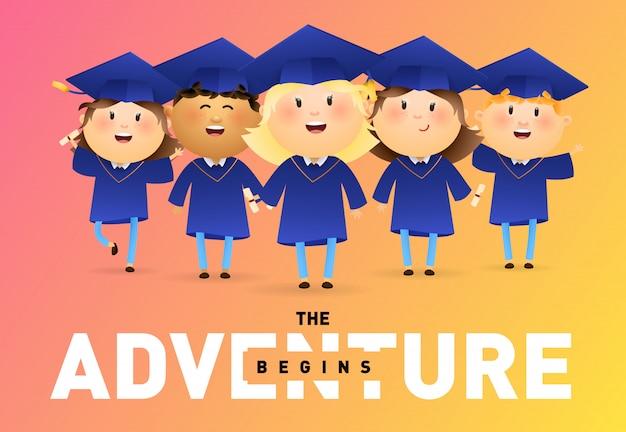 Het avontuur begint met bannerontwerp Gratis Vector