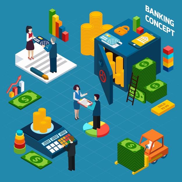 Het bankwezen isometrische conceptontwerp van het ontwerp Gratis Vector