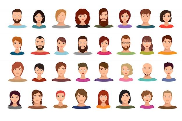 Het bedrijfsmensenenteam van vrouwen en mannen avatars mannelijke en vrouwelijke geïsoleerde profielportretten Premium Vector