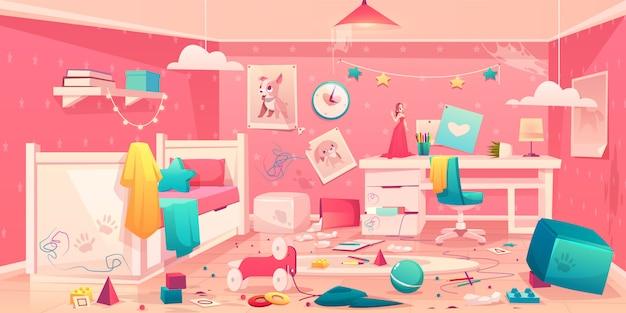 Het beeldverhaalbinnenland van de meisje slordige slaapkamer Gratis Vector