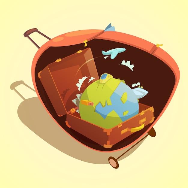 Het beeldverhaalconcept van de reis met bol in een koffer op gele vectorillustratie als achtergrond Gratis Vector