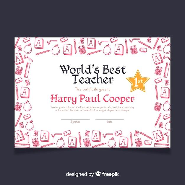 Het beste lerarendiploma van lovely world Gratis Vector