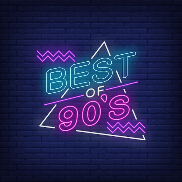 Het beste van de jaren negentig neon belettering Gratis Vector