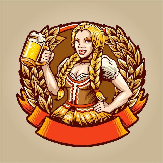 Het biermeisje Premium Vector