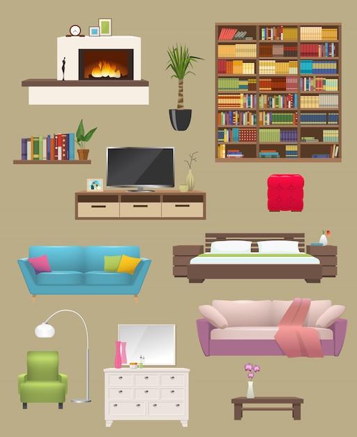 Het binnenland van meubilairelementen met open haardbanken en stoelboekenkast en tv-tribune geïsoleerde vectorillustratie wordt geplaatst die Premium Vector