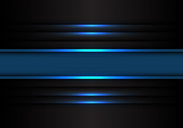 Het blauwe licht van de bannellijn op zwarte achtergrond. Premium Vector