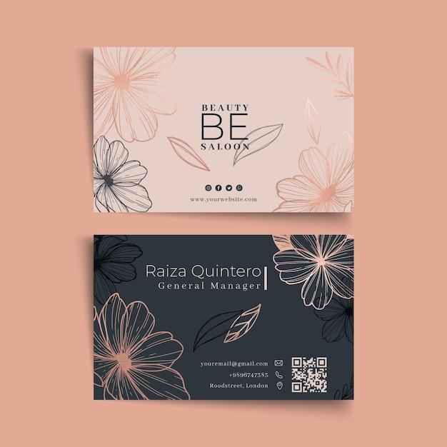 Het bloemen tweezijdige visitekaartje van de schoonheidssalon Premium Vector