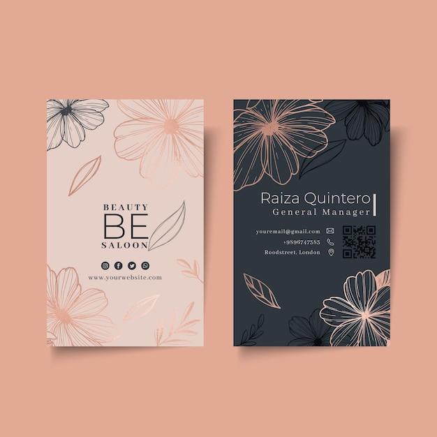 Het bloemen verticale visitekaartje van de schoonheidssalon Premium Vector