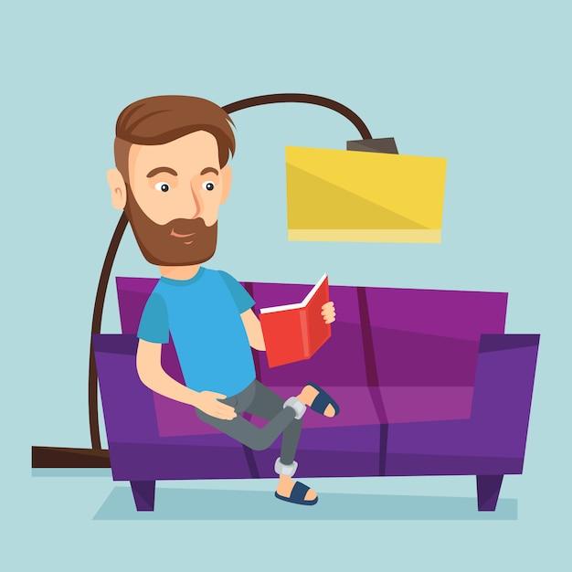 Het boek van de mensenlezing op bank vectorillustratie. Premium Vector