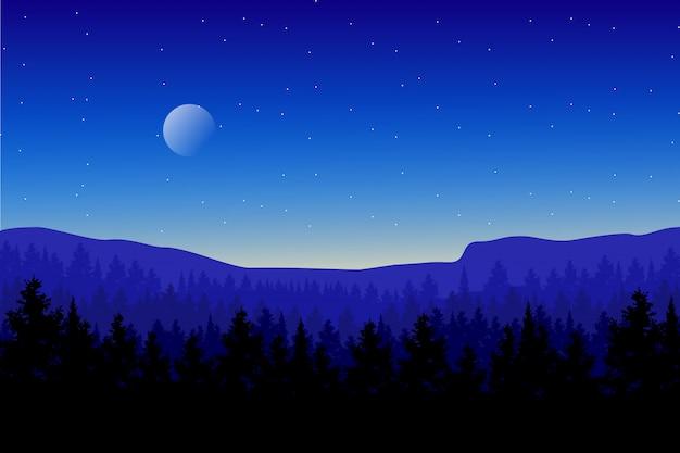 Het boslandschap van het pijnboomhout met blauwe hemel en sterrige nachtillustratie Premium Vector
