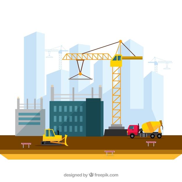 Het bouwen van een stad illustratie in plat design Gratis Vector