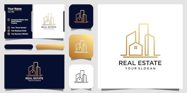 Het bouwen van logo-ontwerp in zeer fijne tekeningen. logo ontwerp en visitekaartje set Premium Vector