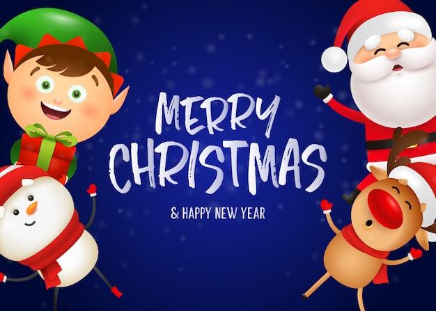 Het briefkaartontwerp van kerstmis met grappige kerstman Gratis Vector