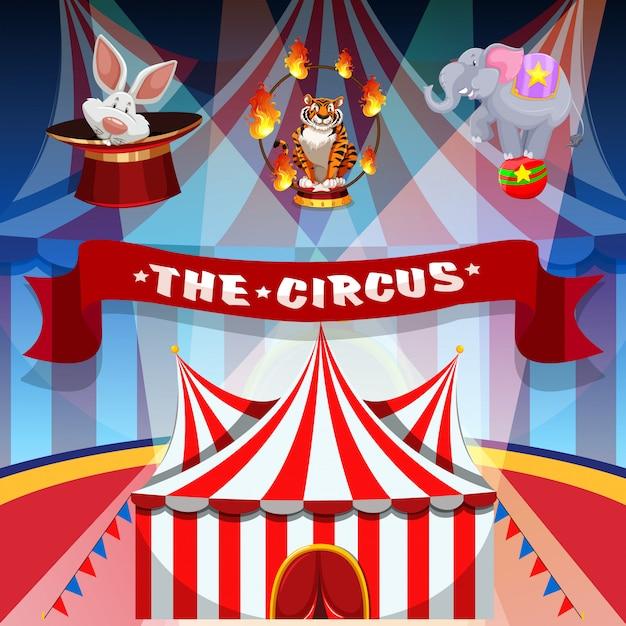 Het circus met dieren Gratis Vector