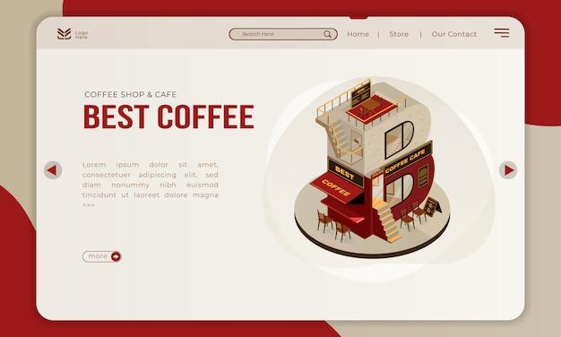 Het coffeeshopgebouw met isometrische letter b voor de beste koffie op de bestemmingspagina Premium Vector