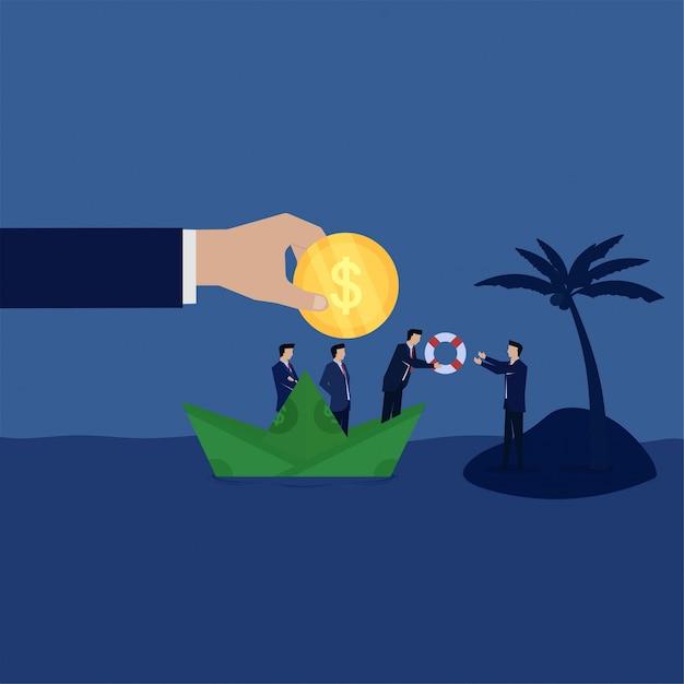 Het commerciële team geeft reddingsboei aan zakenman op eilandmetafoor faillissement Premium Vector