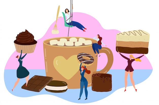 Het concept van chocoladesnoepjes, uiterst kleine mensen die reusachtig dessert, kop van cacao met heemst, illustratie houden Premium Vector