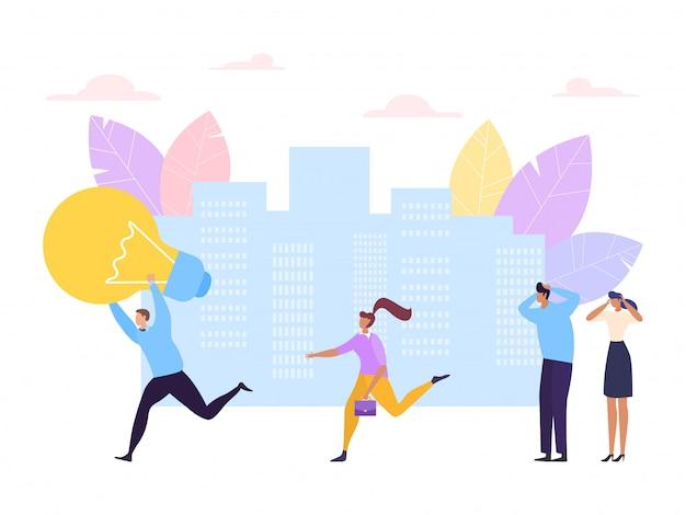Het concept van de bedrijfsideedief, illustratie. man karakter diefstal lamp en rennen, stelen zakenman hersenen werk symbool. Premium Vector