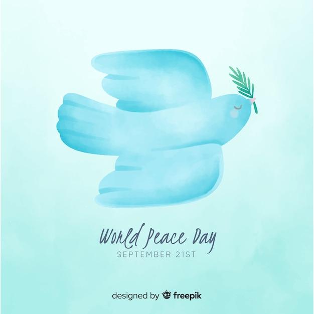 Het concept van de vredesdag met waterverfontwerp Gratis Vector