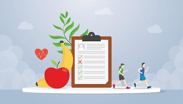 Het concept van het dieetplan met mensen die gezondheid met de banaan en de appel van het gezond voedselfruit in werking stellen - vector Premium Vector