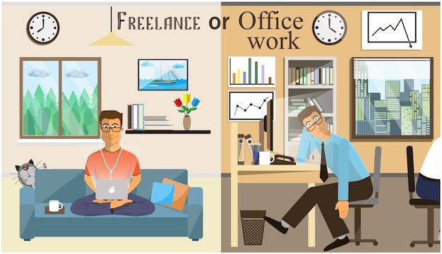 Het concept van kantoorwerk en het freelancen. scènes van mensen die op kantoor werken. interieur kantoor en woonkamer. thuiskantoor in een vlakke stijl. werkruimte voor freelancer. Premium Vector