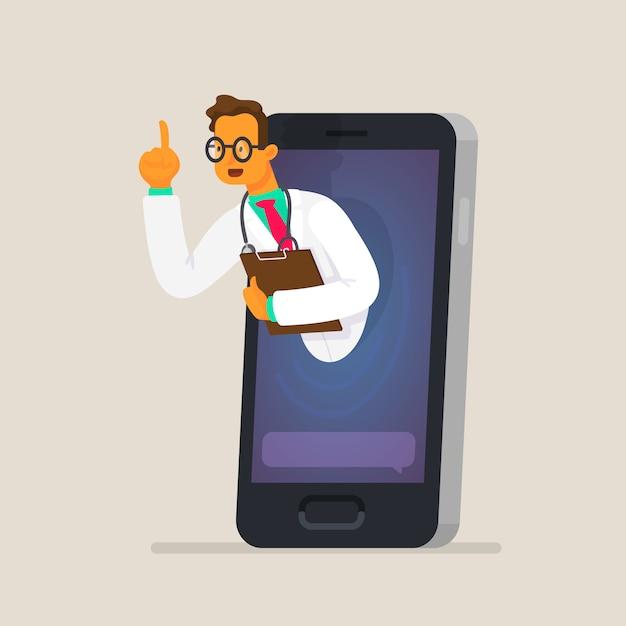 Het concept van online overleg met een arts via een smartphone. gezondheidszorg Premium Vector