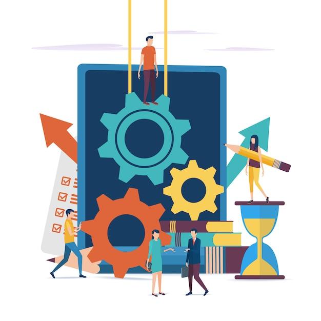 Het concept van werken aan een zakelijk project. Premium Vector