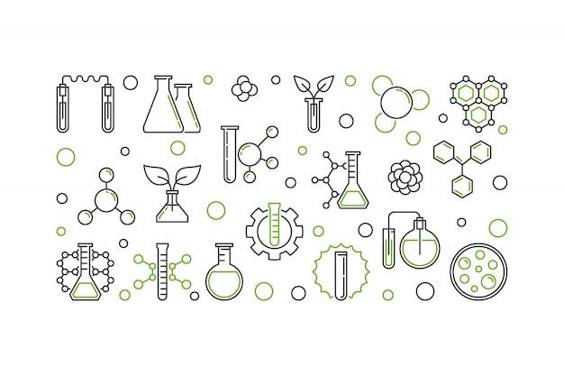 Het concepten lineaire illustratie van het chemie vectorconcept of horizontale banner Premium Vector