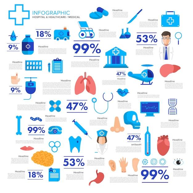 Het concepten medische en gezonde vector van illustraties Premium Vector