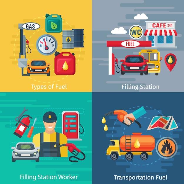 Het conceptenpictogrammen van het brandstofstation die met oliearbeiders en auto'symbolen worden geplaatst Gratis Vector