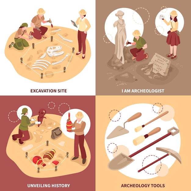Het conceptwetenschappers van het archeologie isometrische ontwerp met hulpmiddelen bij uitgravingsplaats en historische ontdekkingen isoleerden vectorillustratie Gratis Vector