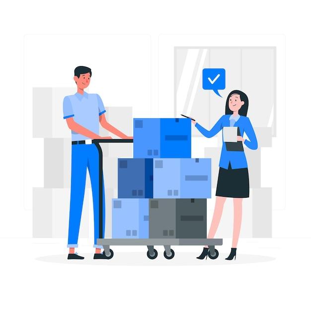 Het controleren van dozen concept illustratie Gratis Vector