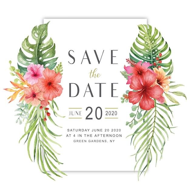 Het de bloemboeket van de waterverfhibiscus bewaart de datumkaart Premium Vector