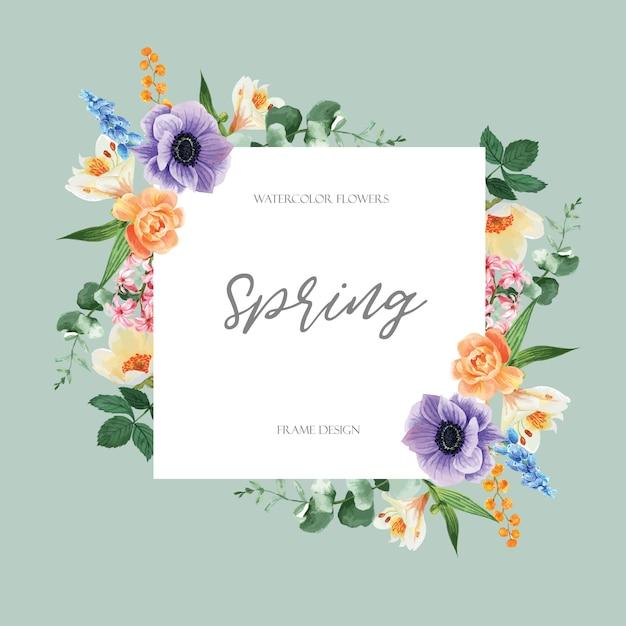 Het de lentekader die verse bloemen adverteren, bevordert, decorkaart met bloemen kleurrijke tuin, huwelijk, uitnodiging Gratis Vector