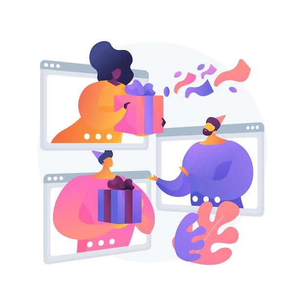 Het delen van geschenken online abstract concept vectorillustratie. online feest, cadeautje uitpakken op video, groeten op camera sturen, cadeau openen, virtueel feestje, leuke abstracte metafoor delen. Gratis Vector