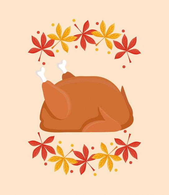 Het diner van turkije van thanksgiving dag met doorbladert Premium Vector