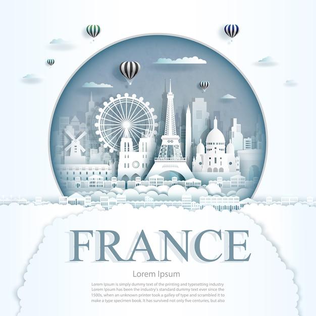 Het document sneed de monumenten van frankrijk met hete luchtballons en wolken achtergrondmalplaatje Premium Vector
