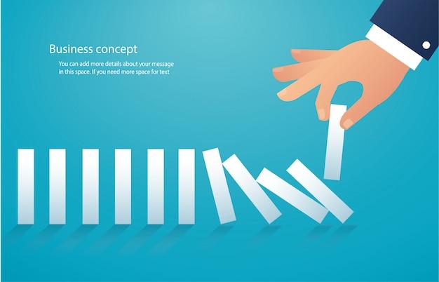 Het domino-effect. bedrijfs concept Premium Vector