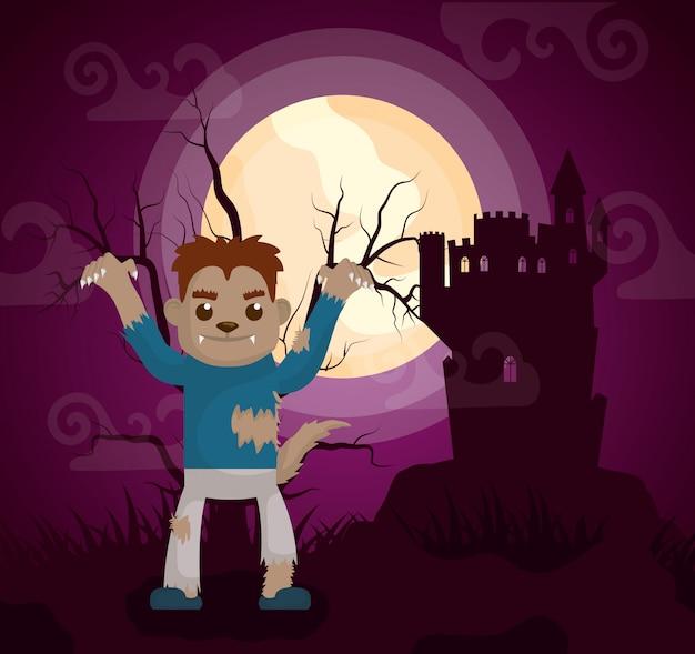 Het donkere kasteel van halloween met weerwolf Gratis Vector