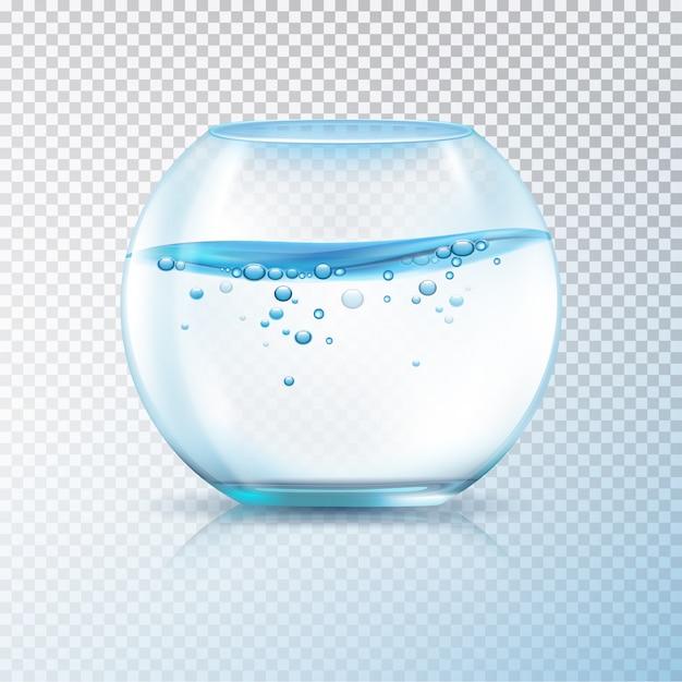 Het duidelijke glas om vissen werpt aquarium met water en luchtbellen op transparante realistische vectorillustratie als achtergrond Premium Vector