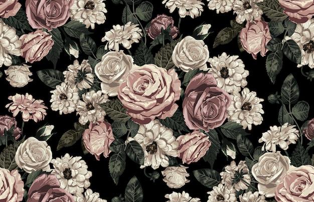 Het elegante naadloze patroon van bloost gestemde rustieke bloemen Premium Vector