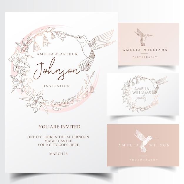 Het elegante ontwerp van het kolibrieembleem en uitnodigingskaart Premium Vector