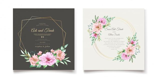 Het elegante thema van de het huwelijksuitnodiging van de kersenbloesem Gratis Vector
